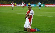 Monaco's Kylian Mbappe-Lottin celebrates scoring their third goal