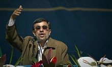 Iranian President Mahmoud Ahmadinejad speaks during a ceremony to mark the 33rd anniversary of the Is