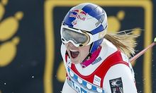 Vonn of the U.S. reacts in the finish area after the women's Alpine skiing World Cup Super-G race in St. Moritz
