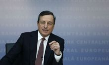 European Central Bank President Draghi gestures during the monthly ECB news conference in Frankfurt