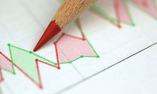 Aktienkurse mit Rotstift - share price with red pencil