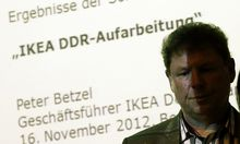 Head of IKEA Germany Betzel presents study on IKEA's possible use of East German political prisoners in production of furniture at news conference in Berlin