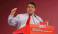 Social Democrat chairman Gabriel delivers his speech at SPD party convention in Berlin.