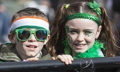 St Patrick s Day Parade London UK London UK 19 March 2017 Children in Trafalgar Square London