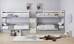 """Familienwohnung in """"The Ambassy"""" in der Beatrixgasse (l.). Nachhaltigkeit, regionale Produkte und dezente Farben kennzeichnen die aktuellen Einrichtungstrends von Kinderzimmern (r.)."""