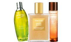 """Sonnengrüße. """"Le Parfum Solaire"""" von Lancaster (40 Euro), """"Soleil Blanc Shimmering Body Oil"""" von Tom Ford (90 Euro), """"Eau Soleil"""" von Biotherm (45 Euro). / Bild: (c) Beigestellt"""