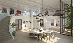 Rohbau anno 1898, Rendering einer aktuell geplanten Wohnung auf zwei Ebenen im ehemaligen Hauptsaal.