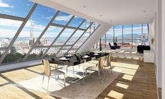 Visualisierung eines neuen Penthouse im revitalisierten Beatrixbad.