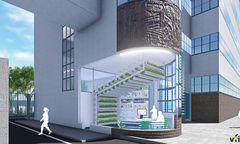 Visualisierung des geplanten Vertical-Farming-Projekts in der Tabakfabrik Linz.