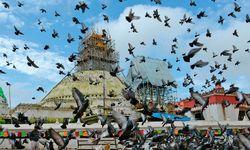 Beschädigt. Die Boudhanath-Stupa in Kathmandu wird wiederhergestellt. / Bild: (c) APA/AFP/PRAKASH MATHEMA