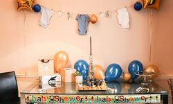 Traditionelle Babyshower-Dekoration bei der Feier von Erika Rittenauer in London. / Bild: Privat