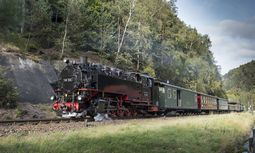 Über 100 Jahre alt ist die Dampflok, die den Zug mit historischen Wagen zum Bahnhof Oybin (Landkreis Görlitz) zieht.  / Bild: Imago