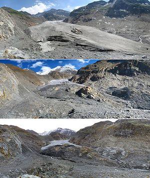 Die Zunge des Gepatsch Ferners aufgenommen am 4. Juli 2012 (oben), 2. Oktober 2013 (Mitte) und 16. September 2014 (unten).