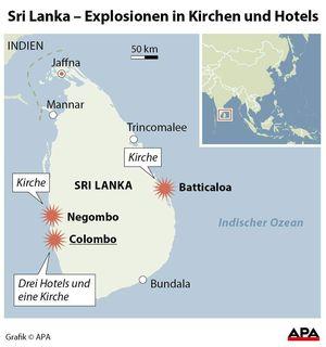 Sri Lanka Karte Zum Drucken.über 200 Tote Bei Anschlägen In Sri Lanka Mehrere Festnahmen