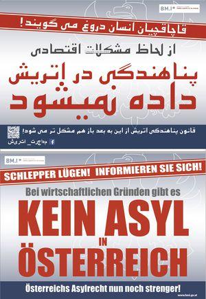 Plakat auf Dari und Deutsch