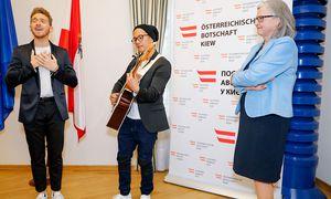 Nathan Trent stellte seinen Beitag in der Österreichischen Botschaft in Kiew vor