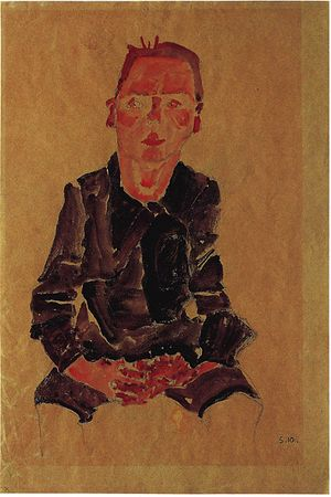 Egon Schieles ''Sitzender Bub mit gefalteten Händen''