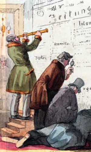 Vision eines Zeichners von 1848: Wie man 100 Jahre später Zeitung lesen werde