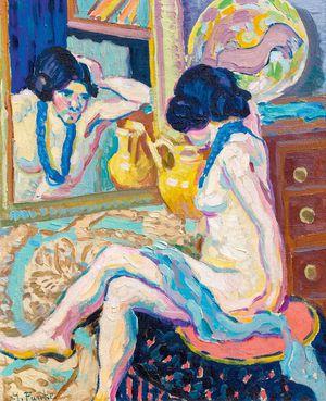 """Funkes """"Akt in Spiegel blickend"""", 1908/10."""