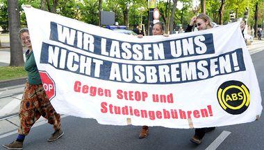Studierende protestieren nach der Entscheidung des Senats in Wien