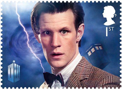 Matt Smith als Dr Who auf einer Briefmarke