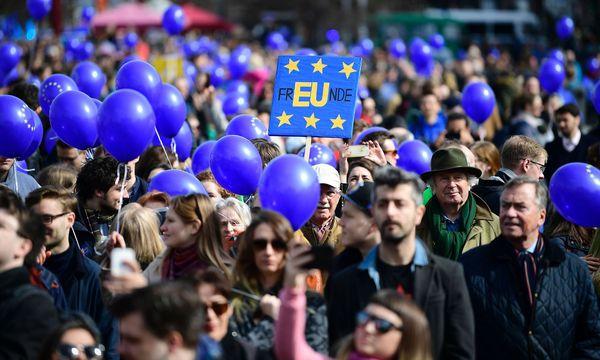 Anhänger der europäischen Föderalistenbewegung  / Bild: APA/AFP/TOBIAS SCHWARZ