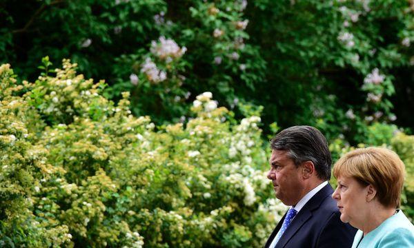 Vereint in der geschäftsführenden Bundesregierung: SPD-Außenminister Gabriel und CDU-Kanzlerin Merkel. / Bild: APA/AFP/TOBIAS SCHWARZ