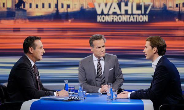 """""""Sitzt da schon die neue Große Koalition?"""", fragte Moderator Tarek Leiter zu Beginn.  / Bild: (c) ORF"""