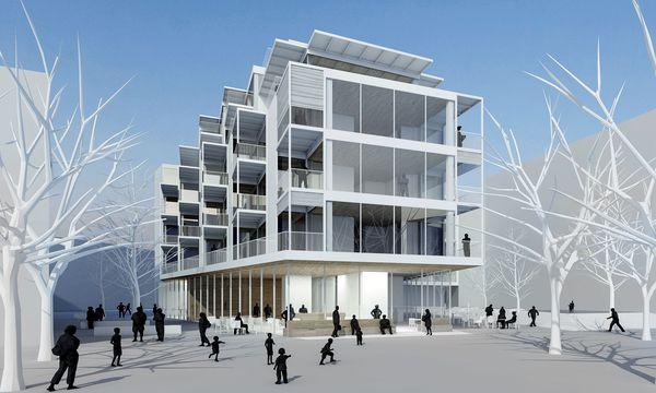 """(c) Rendering PPAG Architects Offen. Im Sonnwendviertel plant das Architekturbüro das Quartiershaus """"Open up!"""" am Park."""