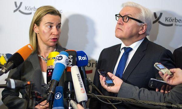 Federica Mogherini war in Berlin bei Frank-Walter Steinmeier zu Gast. Thema Nummer eins: die Ukraine-Krise. / Bild: APA/EPA/BERNDVONJUTRCZENKA