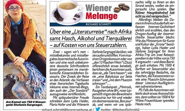 """Richard Schmitts Text über Sargnagels Marokko-Reise in der """"Krone"""".  / Bild: Screenshot"""