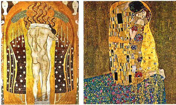 """Klimts Umarmungen: Das männliche Prinzip ist zwar übermächtig, dafür gesichtslos. Die Frau behält ihre Individualität in der sanften Liebkosung. Links Beethoven-, rechts """"Der Kuss"""".  / Bild: (c) Belvedere/MAK"""