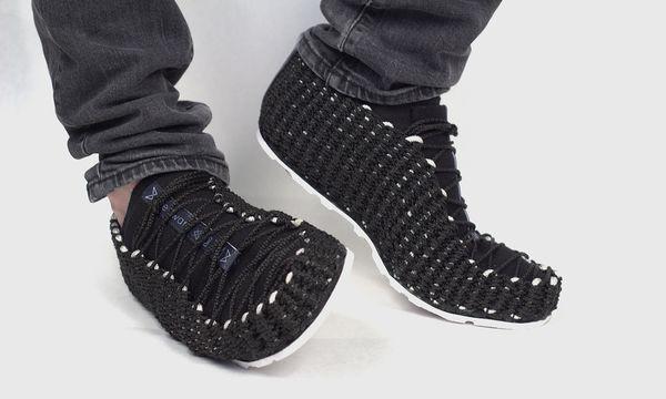 (c) Beigestellt Weftwarp. Gewebte Schuhe mit einer Portion Handwerk.