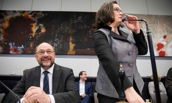 Als Rednerin versteht es Andrea Nahles, die Partei mitzureißen.  / Bild: (c) APA/AFP/ODD ANDERSEN