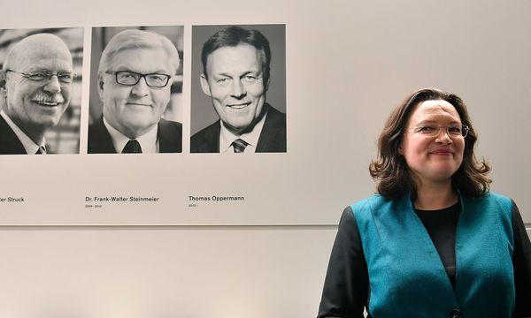 Nahles wird dem linken Parteiflügel zugeordnet. / Bild: APA/AFP/JOHN MACDOUGALL