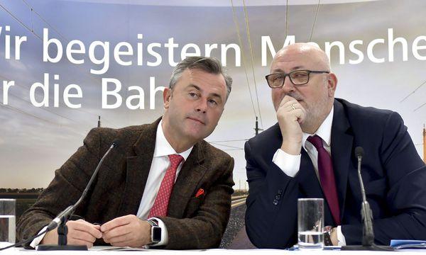 Verkehrsminister Norbert Hofer mit Bahn-Chef Andreas Matthä / Bild: APA/HERBERT NEUBAUER