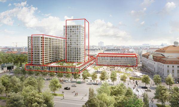 Der Turm am Heumarkt wird niedriger, das Hotel Intercont versetzt (rote Konturen: der ursprüngliche Plan). / Bild: Entwurf: Isay Weinfeld und Sebastian Murr, Rendering: Nightnurse