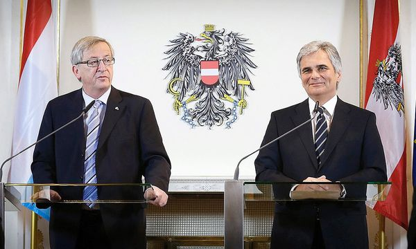 Faymann & Juncker Bankgeheimnis.  / Bild: (c) EPA (BKA/ANDY WENZEL)