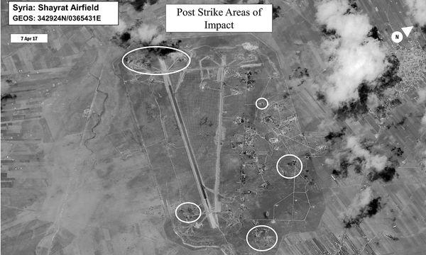 Pläne des von den USA angegriffenen syrischen Luftwaffenstützpunkts. / Bild: APA/AFP/DoD/HANDOUT