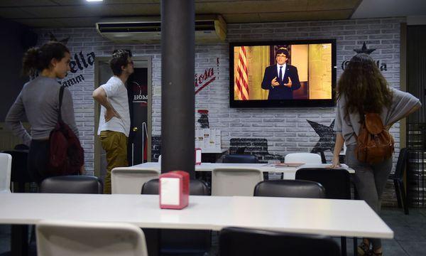 Carles Puidgemont hielt einen Appell in der TV-Rede. / Bild: (c) APA/AFP/PIERRE-PHILIPPE MARCOU (PIERRE-PHILIPPE MARCOU)