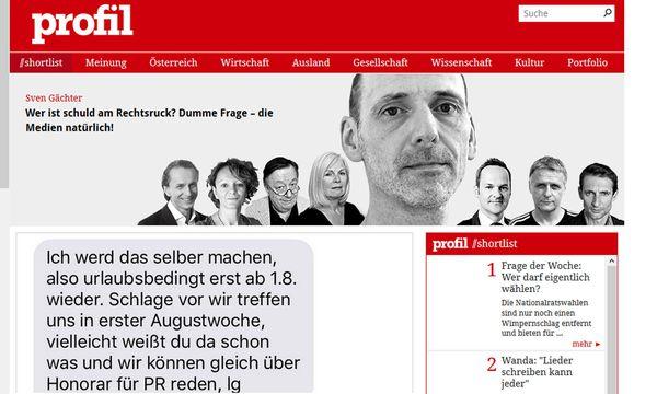 """""""profil"""" legt die SMS-Korrespondenz vor. / Bild: (c) Screenshot"""