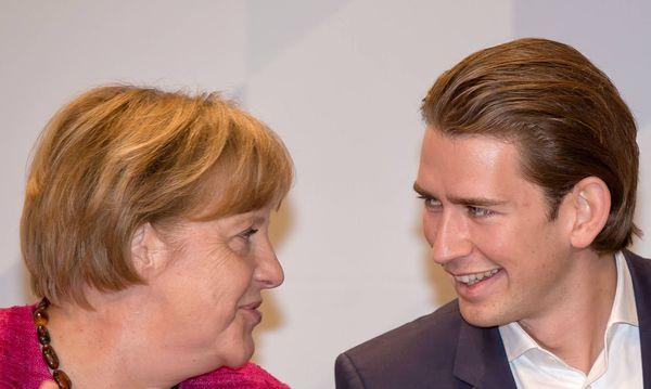 Angela Merkel und Sebastian Kurz auf dem Deutschlandtag der Jungen Union im Jahr 2014 / Bild: (c) imago/Ernst Wukits (imago stock&people)