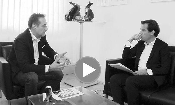 """""""Presse"""" Chefredakteur im Video-Interview mit FPÖ-Chef Heinz-Christian Strache / Bild: Shervin Sardari"""
