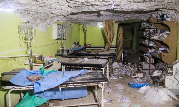 Das bombardierte Spital in Khan Sheikhoun. / Bild: (c) AFP (OMAR HAJ KADOUR)