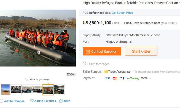 Alibaba verkauft Schlauchboote für 800 Dollar. / Bild: Screenshot/Alibaba