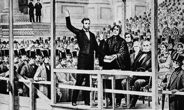 Krieg trotz versöhnlicher Lincoln-Rede / Bild: Lincoln schwört den Eid auf die Verfassung (c) AP