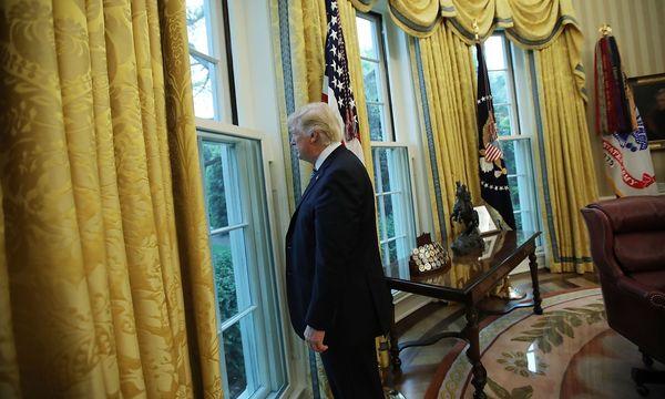 Donald Trump blickt aus dem Fenster im Oval Office. / Bild: REUTERS/Carlos Barria
