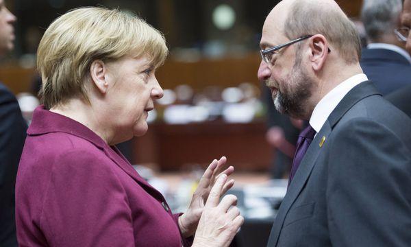 Auftakt zu einer neuen Großen Koalition? SPD-Chef Schulz stellt erste Bedingungen für Regierungsverhandlungen mit CDU-Chefin Merkel. / Bild: (c) imago/Belga (imago stock&people)