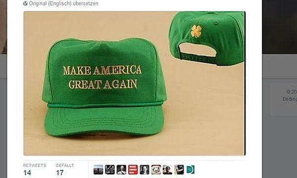 Trumps Irland-Mützen zeigen falsches Kleeblatt / Bild: (c) Twitter