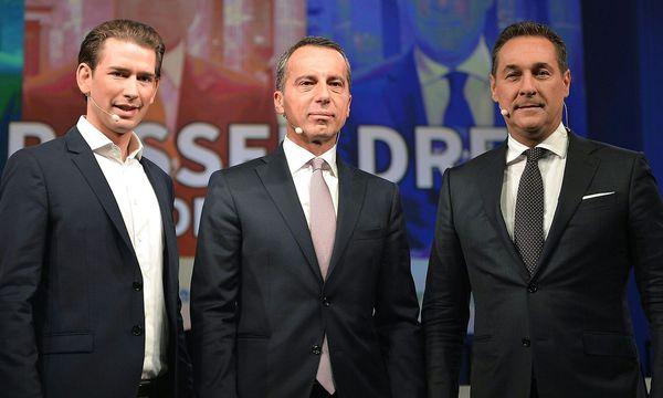 Sebastian Kurz (ÖVP), Christian Kern (SPÖ), Heinz-Christian Strache (FPÖ) beim Duell der drei Spitzenkandidaten am Freitag in Linz / Bild: (c) APA/HERBERT NEUBAUER (HERBERT NEUBAUER)